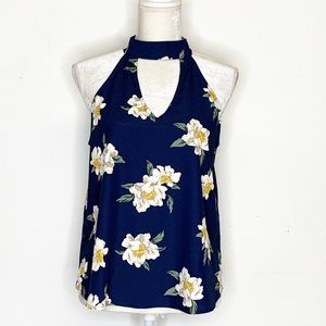Sweet Wanderer Floral High Neck Cut Out Top Large